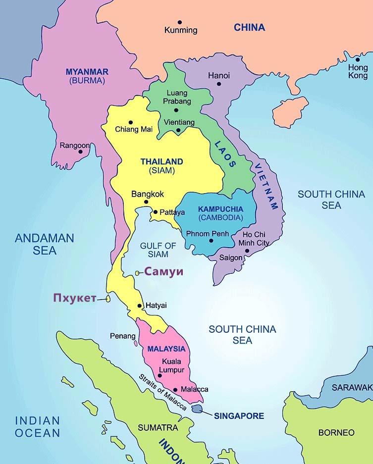 карта таиланда